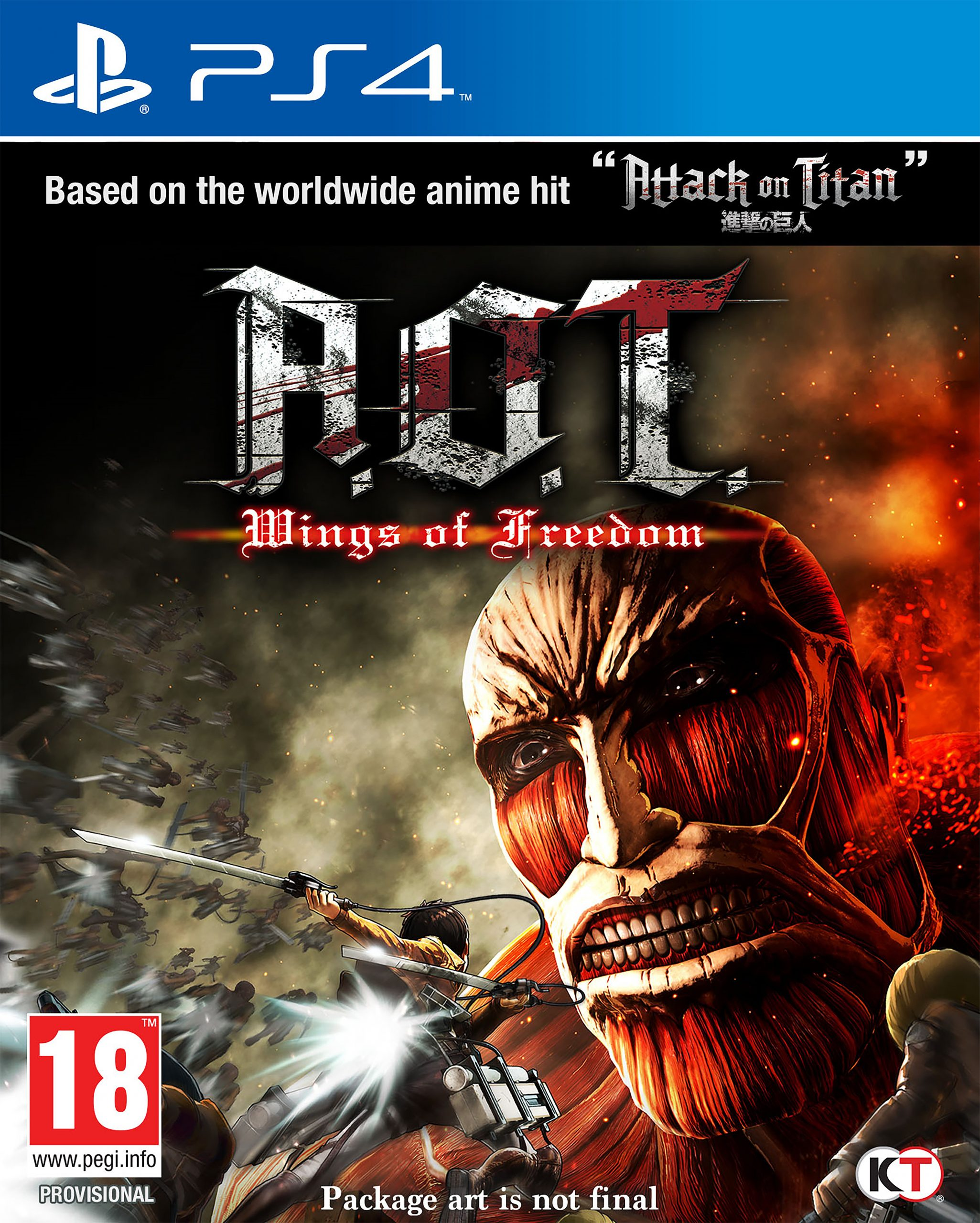 Attack on Titans: Wings of Freedom PS4 Game.