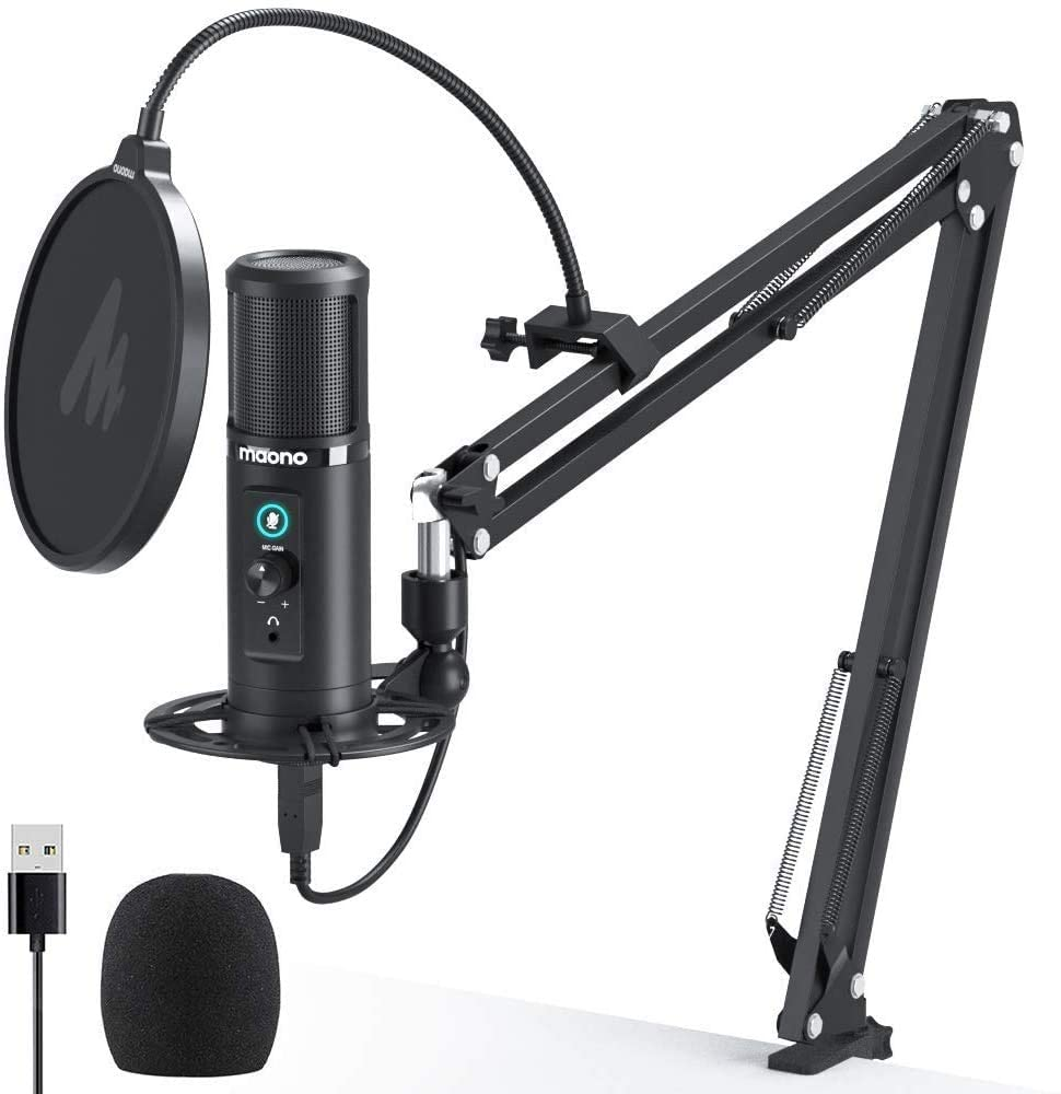 61I 80u1MLL. AC SL1000 MAONO AU-PM422 192KHZ/24BIT Professional USB Cardioid Condenser Mic with Touch Mute Button and Mic Gain Knob for Podcasting