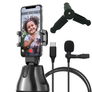 Apai Genie Auto Smart Shooting Selfie Holder With USB Type-C Phone Microphone, Phone Tripod, 360° Rotation Face Tracking