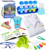 UNGLINGA Kids Science Experiment Kit with Lab Coat Scientist Costume Dress Up and Role Play Toys Gift for Boys Girls Kids Age 5 – 11 Year Old Christmas Birthday Party